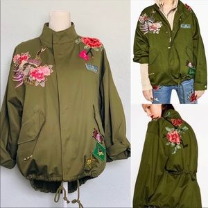 New Zara Rose Peacock Embroidered Utility Jacket M